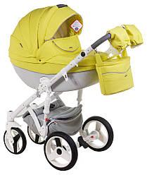 Детская коляска универсальная 2 в 1 Adamex Monte Deluxe Carbon кожа 100% 39S-B (Адамекс Монте)