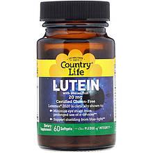 """Лютеїн для зору з зеаксантином Country Life """"with Lutein Zeaxanthin"""" 20 мг (60 капсул)"""