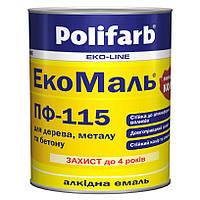 Эмаль алкидная Polifarb ПФ-115 ЭкоМаль для дерева и металла 0,9 кг