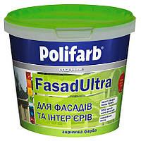 Краска акриловая Polifarb Фасадультра фасадная и интерьерная белая колеруется
