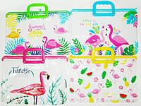 """Папка-портфель ПВХ прозрачная с ручками """"Фламинго"""" 28*39см"""