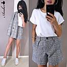 Клетчатый женский костюм с шортами и пиджаком 8kos1327, фото 2