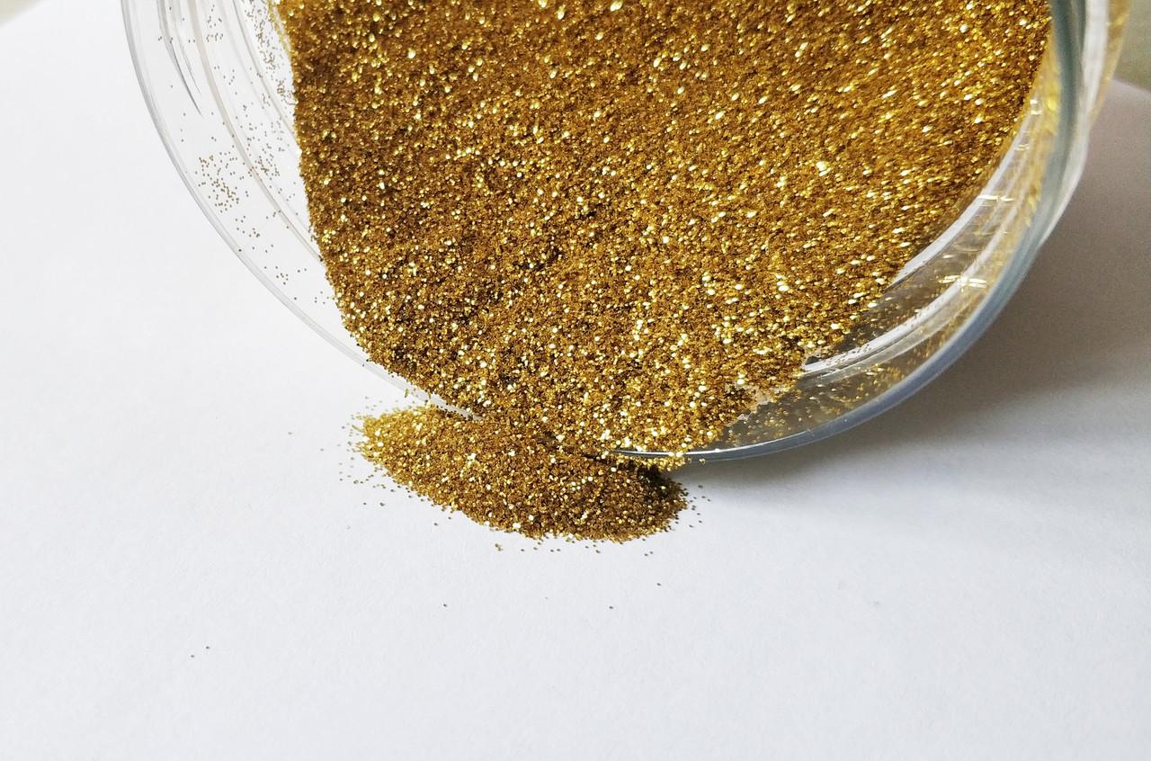 Глиттер декоративный размер частиц 0,2мм, 1/128 цвет золото, Упаковка 25 мл.