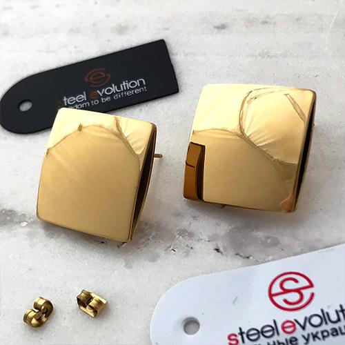 Серьги гвоздики женские Золотые из медицинской стали 22 мм 165277