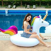 Круг надувной для плавания для пляжа и бассейна Единорог, диаметр 190 см
