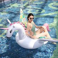 Круг надувной для плавания для пляжа и бассейна Единорог Candy Horse, диаметр 200 см
