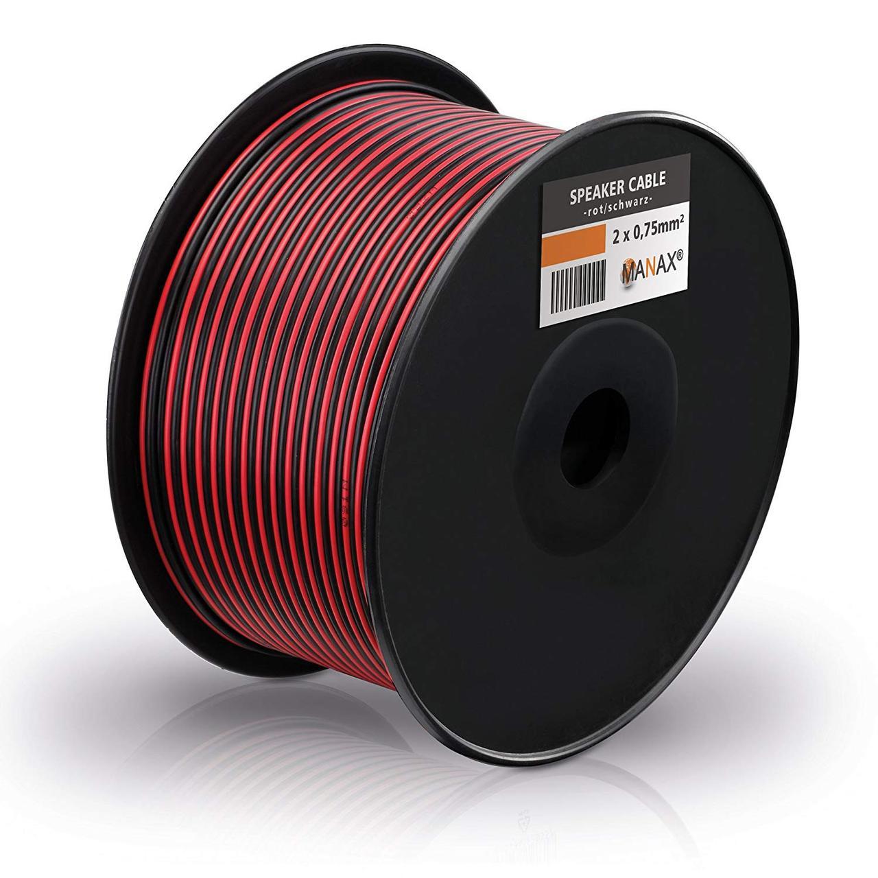 Акустический кабель Manax SC2075RB-100 2x0,75 мм² CCA