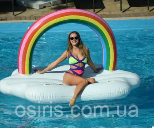 Матрас надувной для плавания Облако с радугой (для пляжа и бассейна) Размер 245 х 145 см