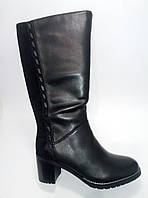 Женские замшевые сапоги на каблуке евро зима ТМ Lonza, фото 1