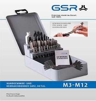 Набір ручних мітчиків M3-M12 HSSG с воротком Nr.1.1/2 + свердло під різьбу + шаблон 29 шт. GSR Німеч