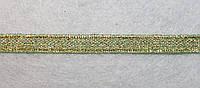Лента парча 905 зелёно-золотая 7 мм