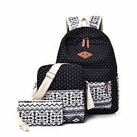 Стильный женский городской рюкзак 3 в 1 в скандинавском стиле тканевый Чёрный FA-7