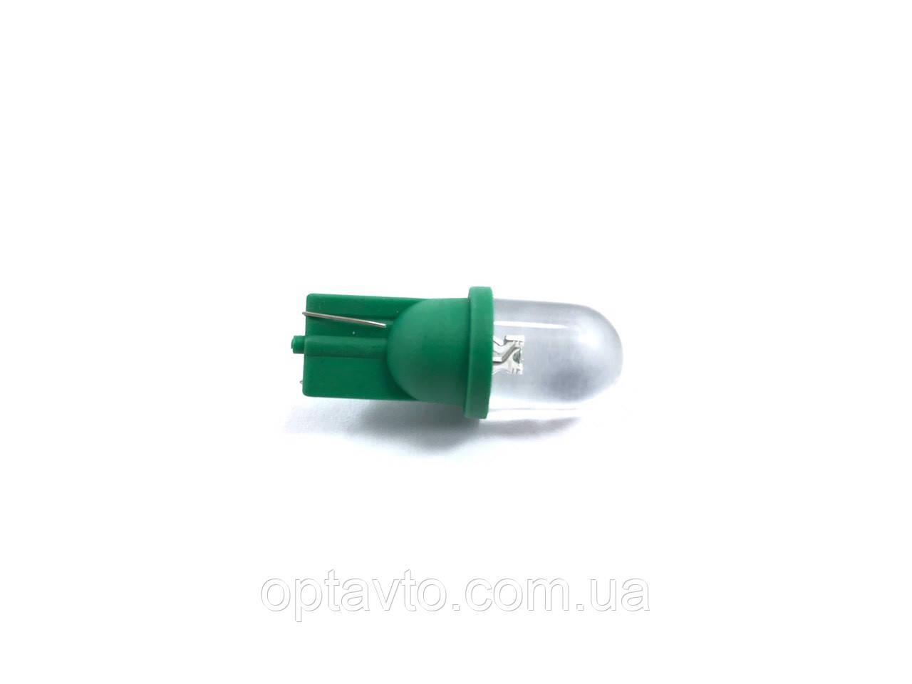 Автомобільні діодні лампи габаритні з цоколем T10 W2.1*9.5 D / зелена