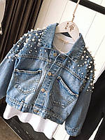 Женская джинсовая куртка оверсайз с жемчугом на рукавах и спине 68mku2102, фото 1
