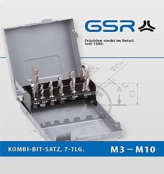 """Набір комбінованих свердло-мітчик біт М3-М10 + перехідник 1/4"""" GSR  GSR Німеччина"""