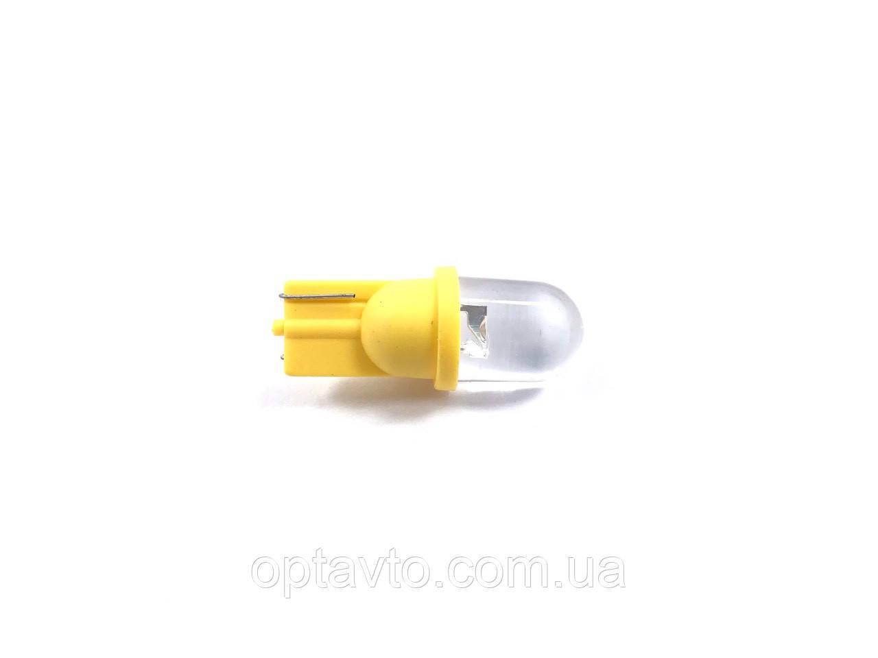 Автомобильные диодные лампы габаритные с цоколем T10 W2.1*9.5D / желтая
