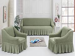 Чехол универсальный на диван и два кресла - Оливка 1'145грн