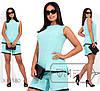 Женский льняной летний костюм в больших размерах с шортами и блузой 1mbr2021