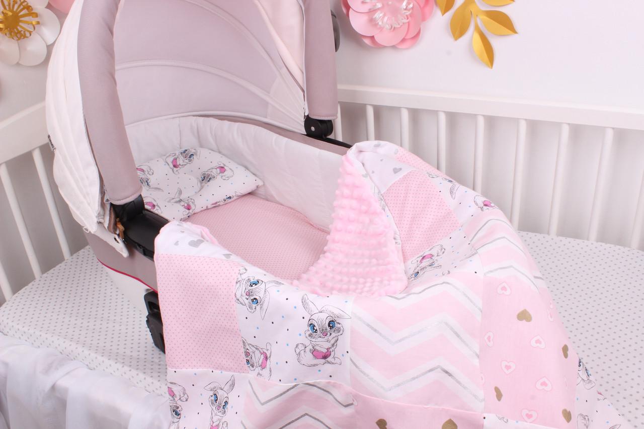 """Комплект в коляску для новорожденного """"Розовый с зайками на белом"""""""
