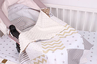 Комплект в коляску для новорожденного в Бежево-коричневых тонах