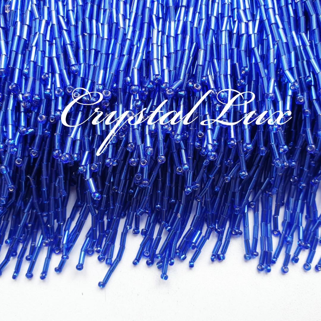 Стеклярус на ленте (высота 14-15см) 1м Royal blue