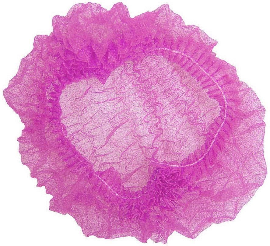 Шапочка одноразова на одній резинці Polix PRO&MED (100 шт в упаковці) Спанбонд Рожева