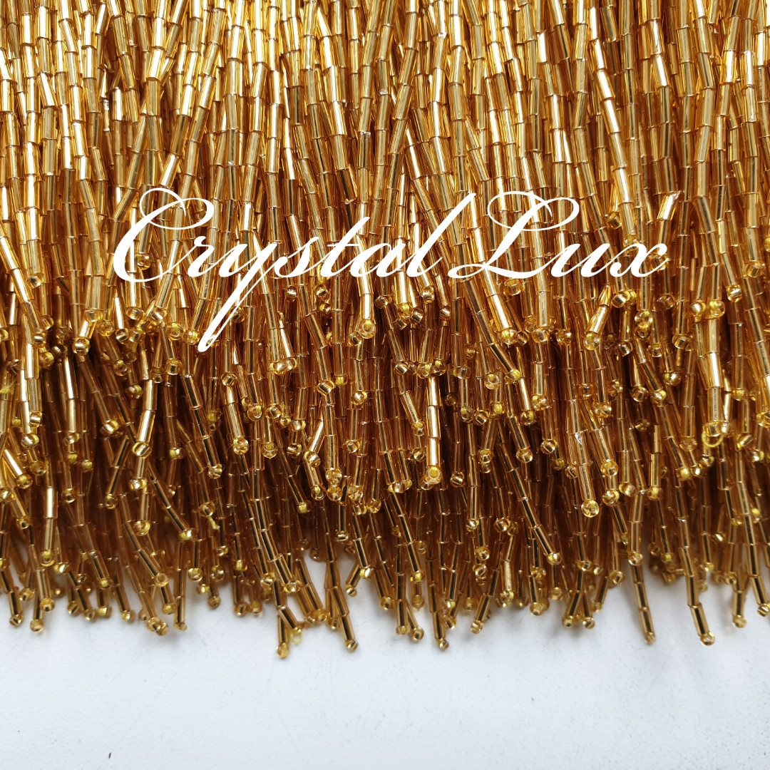 Стеклярус на ленте (высота 14-15см) 1м Gold