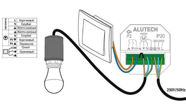 Схема подключения освещения к блоку радиоуправления CUR/mini