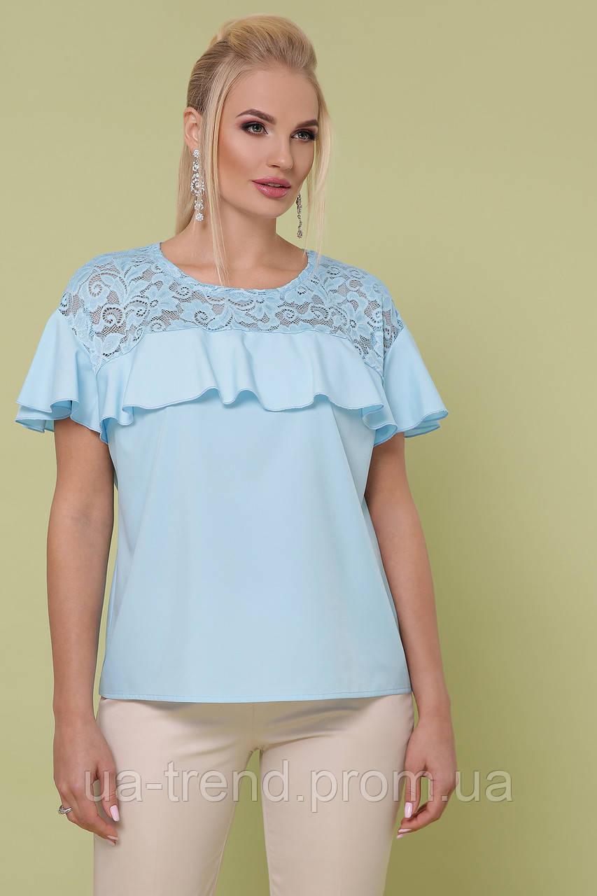 Летняя блуза голубого цвета батал