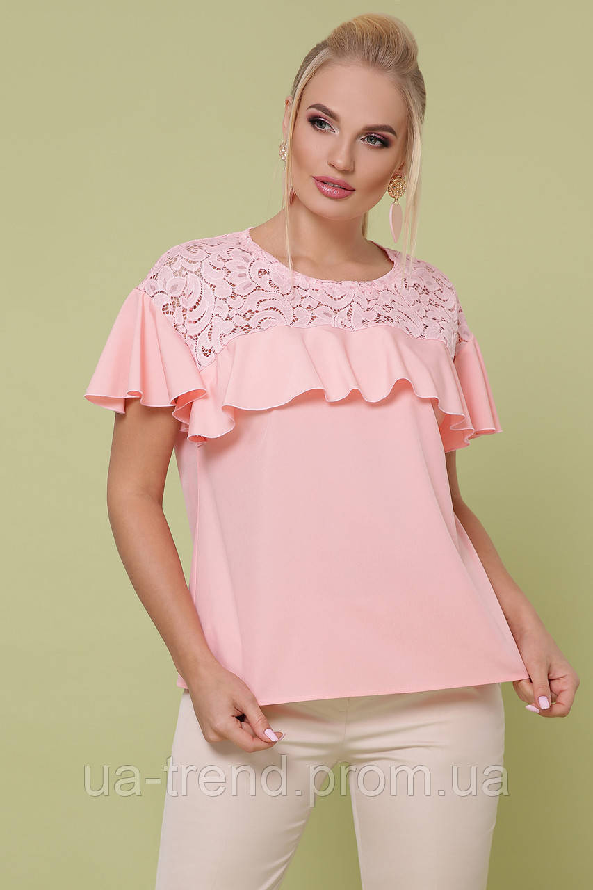 Блуза с гипюром на лето больших размеров