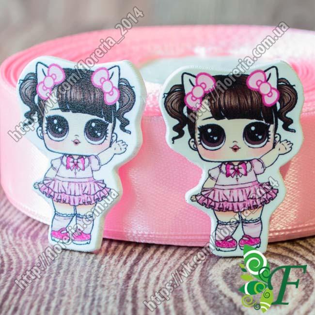 Кабошон-серединка кукла LOL ЛОЛ Ободок ушки с бантиками в розовом