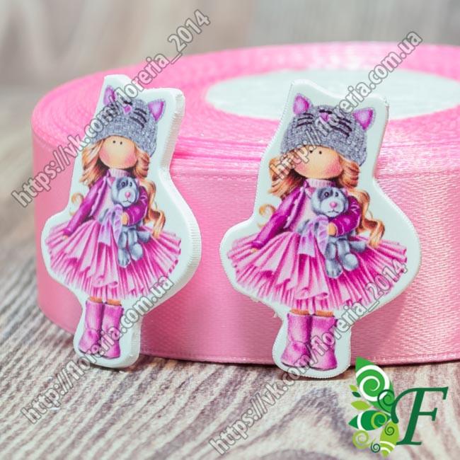 Кабошон-серединка Тильда в розовой юбке
