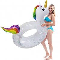 Круг надувной для плавания Единорог с блестками внутри ( для пляжа и бассейна ) диаметр 120 см