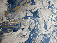 Виниловые обои на флизелиновой основе Ugepa Reflets L79801 абстракция космос синий белый золотистый 3d