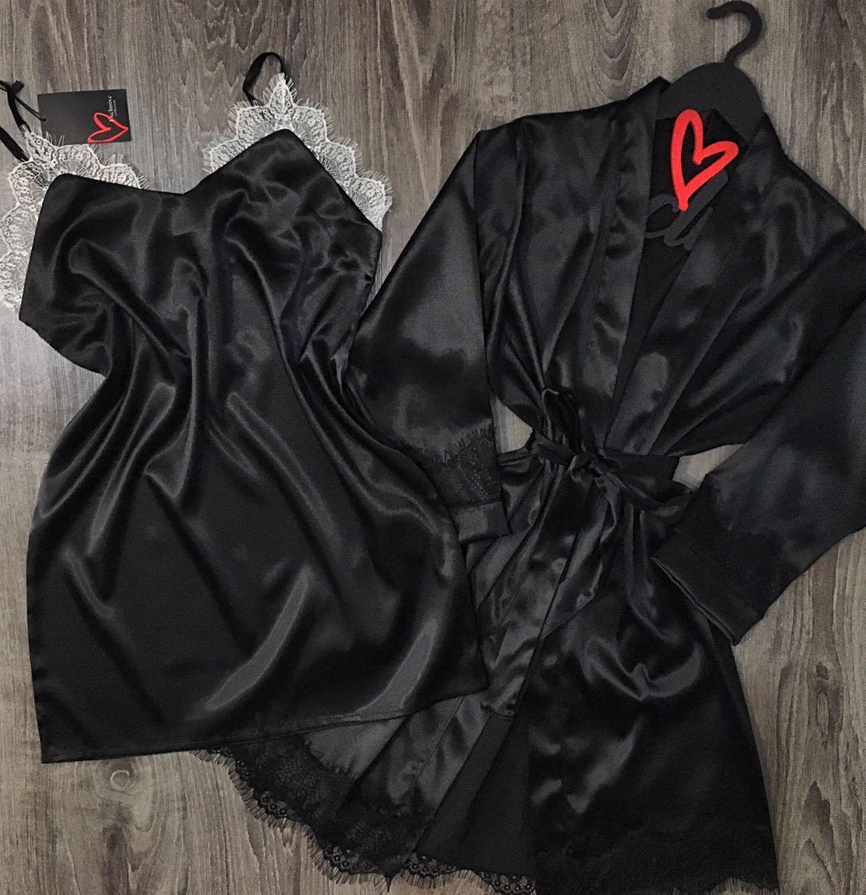 Черный комплект халат и пеньюар.