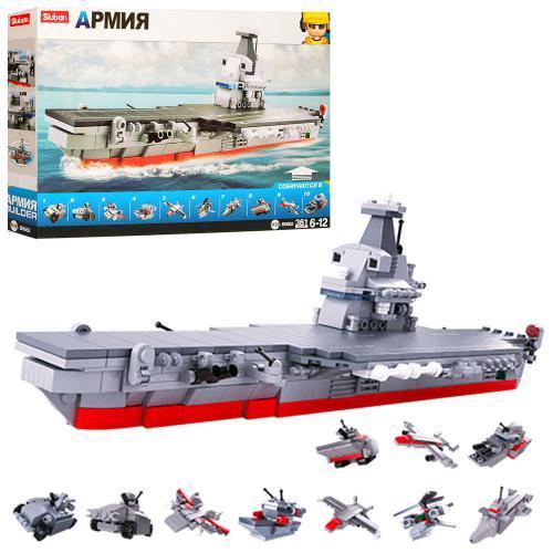 Конструктор  SLUBAN армия, 10 в 1 (корабль,транспорт),424 деталей