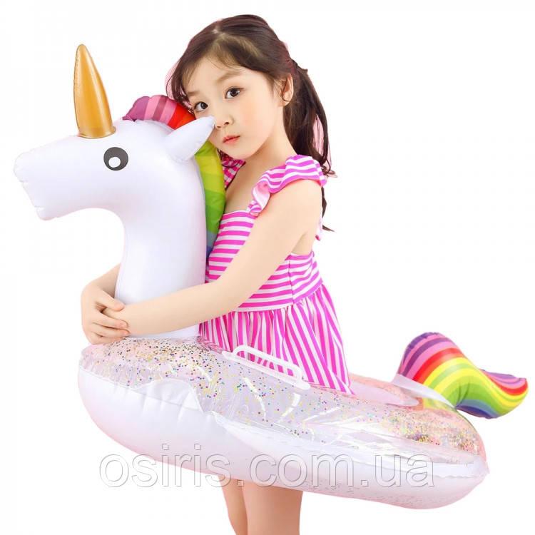 Круг надувной для плавания Единорог с блестками внутри Детский ( для пляжа и бассейна ) диаметр 70 см