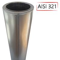 Труба-сэндвич дымоходная D-140/200 мм S-1 мм L-1 метр AISI 321 нержавейка/оцинковка - «Stalar»