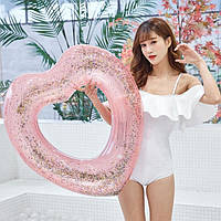 Круг надувной для плавания Сердце с блестками внутри ( для пляжа и бассейна ) диаметр 90 см