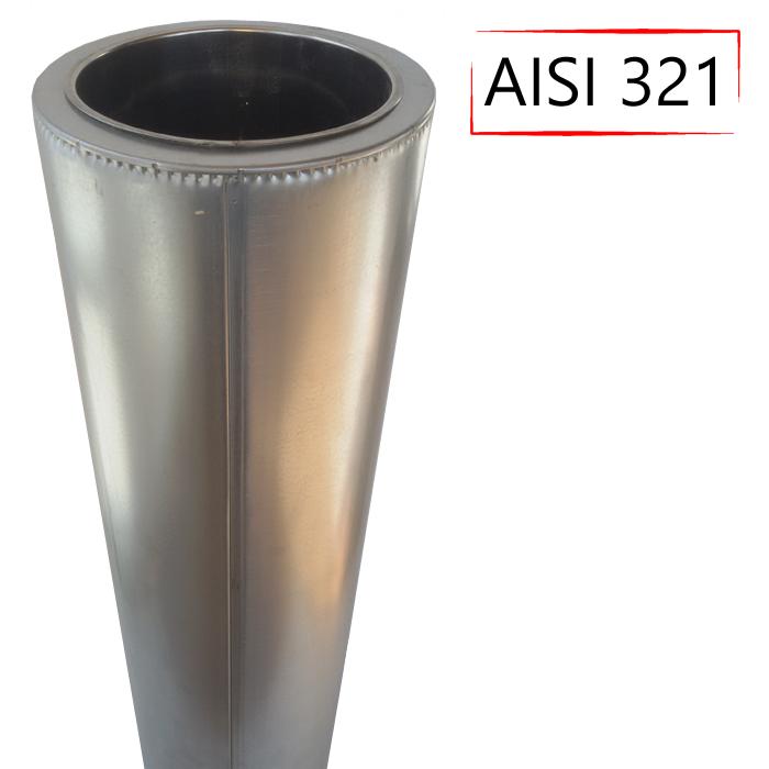 Труба-сэндвич дымоходная D-350/420 мм S-1 мм L-1 метр AISI 321 нержавейка/оцинковка - «Stalar»