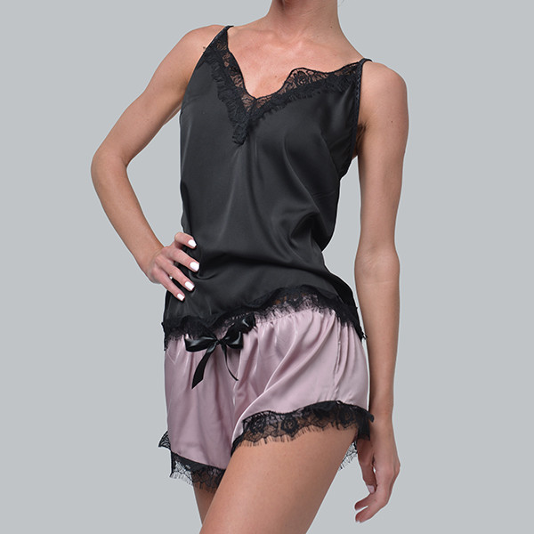 Женская пижама шелковая с французским кружевом Bl-1004 черно/лиловая, фото 1