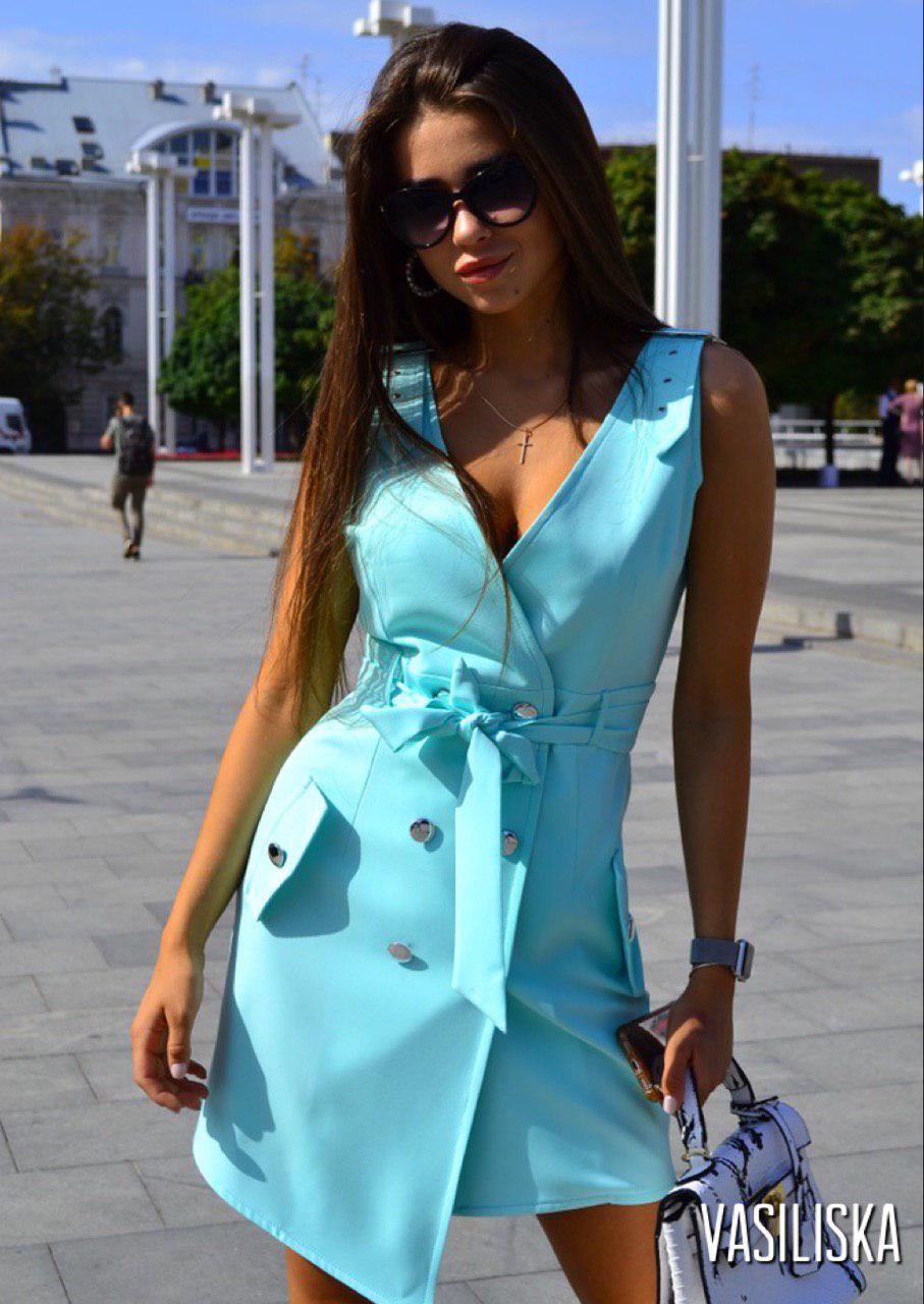 Сарафан женский летний с асимметричным подолом костюмка люкс Мята