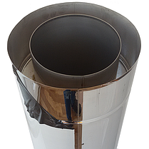 Труба-сэндвич дымоходная D-110/180 мм S-0,8 мм L-1 метр AISI 321 нержавейка/нержавейка - «Stalar», фото 3