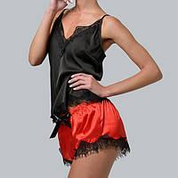 Женская пижама шелковая с французским кружевом Bl-1005 черно/красная, фото 1