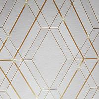 Виниловые обои на флизелиновой основе Ugepa Reflets L77807 кремовые полосы с золотом фигуры ромбы 3d