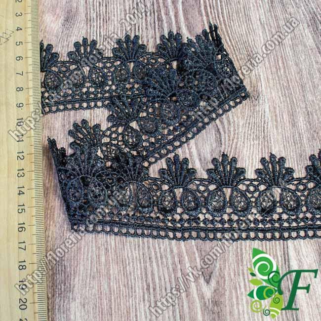 №144 Кружево макраме Жабо_черное за 1.25 м