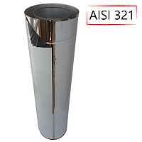 Труба-сэндвич дымоходная D-140/200 мм S-1 мм L-1 метр AISI 321 нержавейка/нержавейка - «Stalar»