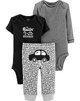 Детский комплект из трёх вещей «Веселые попки» Машинки Картерс для мальчиков