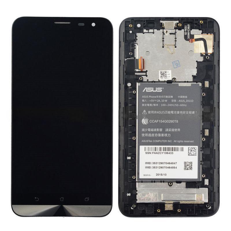 Дисплей (экран) для Asus ZenFone 2 Laser (ZE601KL) Z011D с сенсором (тачскрином) и рамкой черный Оригинал