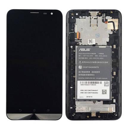 Дисплей (экран) для Asus ZenFone 2 Laser (ZE601KL) Z011D с сенсором (тачскрином) и рамкой черный Оригинал, фото 2